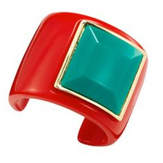 A bright red resin, a faux-turquois gem and a gold-plated setting all conspire to put the bang in this bright, bold bangle from Macy's.