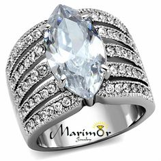 Buy Women's Stainless Steel 316 Marquise Cut Zirconia Wide Band Engagement Ring Size at Wish - Shopping Made Fun Cheap Gold Rings, Cheap Wedding Rings, Silver Wedding Rings, Wedding Rings Vintage, Vintage Rings, Gold Wedding, Dream Wedding, Pinky Rings For Women, Mens Pinky Ring