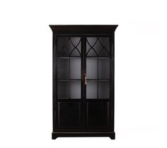 The Abby Black Cabinet - The three upper shelves are removable in this splendid cabinet. Glass front doors have exquisite fretwork at the top.