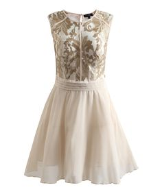 Another great find on #zulily! Ivory & Gold Embroidered Codi Dress by London Dress Company #zulilyfinds