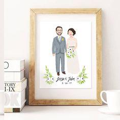 Custom Couple Wedding Portrait & Print by kathrynselbert on Etsy
