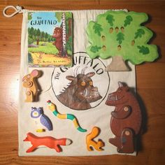 """What is a """"story sack"""" and some story sack ideas A story sack is fantastic activity for you and your child to to have fun whilst contributing to their learning and literacy. Book Activities, Toddler Activities, Gruffalo Activities, Playgroup Activities, Preschool Books, Tender Is The Night, Story Sack, Toddler Playroom, Book Baskets"""