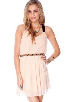 Split Up Dress in Peach - Tobi