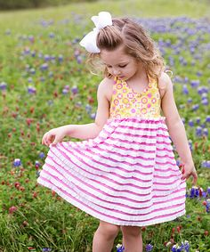 Pink & Yellow Geometric Stripe Halter Dress - Toddler & Girls | zulily