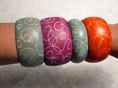 Wood bangles with a resist. ~ Mod Podge Rocks!