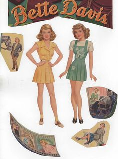 Bette Davis Movie Star Cut Out Dolls 1942