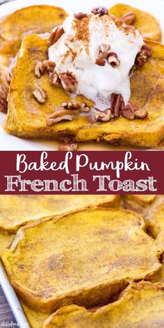 Easy Pumpkin French Toast Recipe is baked in the oven making this the perfect fall breakfast! This Baked Pumpkin French Toast Recipe uses thick-cut bread and is soaked in a rich pumpkin custard and baked to perfection! Thanksgiving Desserts Easy, Great Desserts, Fall Desserts, Dessert Recipes, Christmas Desserts, Dessert Ideas, Recipe Using Pumpkin, Pumpkin Recipes, Fall Recipes