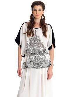 MAT Fashion Black & White Paisley Print Relaxed Top