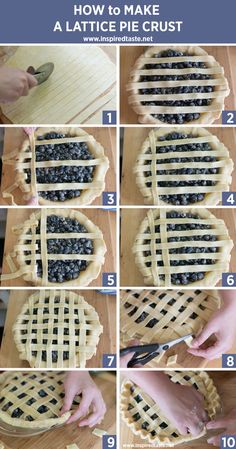 How to Make a Lattice Pie Crust - Dessert Recipes Pie Decoration, Decoration Patisserie, Köstliche Desserts, Delicious Desserts, Dessert Recipes, Cake Recipes, Pasta Recipes, Sweet Recipes, Plated Desserts