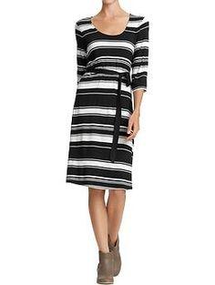 Women's 3/4-Sleeve Striped Jersey Dress (Black/White Stripe). Old Navy. $34.94