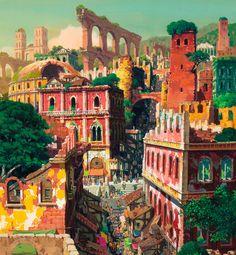 Illustration art hayao miyazaki painting digital art
