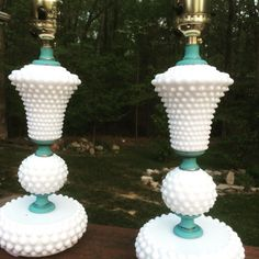 Hobnail milk glass lamp makeover. Painted in Annie Sloan Chalk Paint Provence & clear waxed & rewired. #anniesloa nchalkpaint #makeover #lamps #hobnail