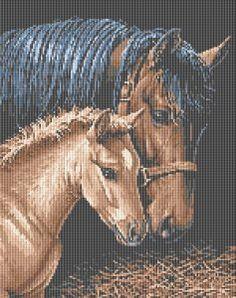Horses, free cross stitch pattern from Alita Designs