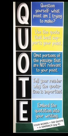 Do your students need help with using quotations in their writing? Grab this eye-catching poster for your classroom.