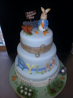 Peter Rabbit Beatrix Potter 3 Tiered Christening Cake