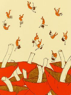 Mushrooms and raining people... illustration