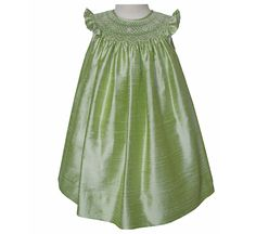 Sharon green silk bishop dress for girls