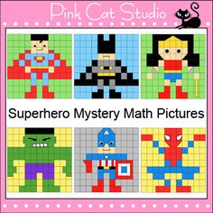 Your students will have a blast practicing their math skills by uncovering these fun hero characters mystery pictures. These activities are great for math centers, homework, whole class and early finishers. By Pink Cat Studio Superhero Classroom Theme, Math Classroom, Kindergarten Math, Classroom Themes, Teaching Math, Math Resources, Math Activities, Lego Mosaic, Homeschool Math