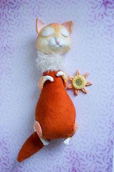 Art doll animal fox ooak polymer clay creature sleepy cute