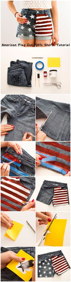 American Flag Cut-Off Shorts Tutorial; I would make the stripes wider