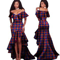 African Tribal National Printing Slash Neck Sexy Long Dresses For Women Bazin African Tribal National Printing Slash Neck Sexy Long Dresses For Women Bazin African Fashion Designers, African Fashion Ankara, African Print Fashion, Africa Fashion, African Style, African Prints, African Fabric, Long African Dresses, Long Dresses