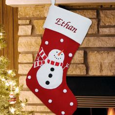 Embroidered Snowman Wool Christmas Stocking