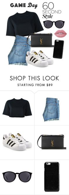 """Game day!"" by syvkirah ❤ liked on Polyvore featuring NIKE, AG Adriano Goldschmied, adidas Originals, Yves Saint Laurent, Maison Margiela and Lime Crime"