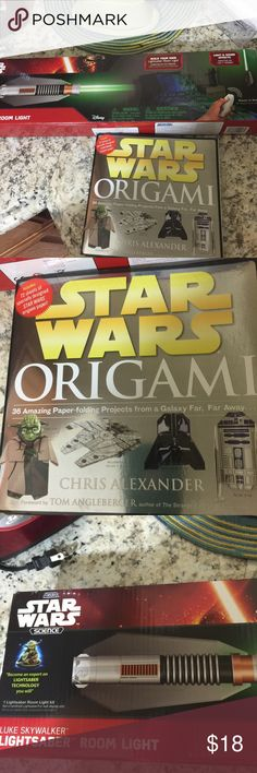 Star Wars Gifts Origami Book, Lightsaber Room Lite 2 Gifts- A Book where pages are pulled out and folded up to make into Star Wars Characters. One page out of 50 used. Original cost $25.  Gift 2 is a Green Lightsaber. After easy assembly you can attach to wall for a nightlight.  Has a remote control to make light and noises work. Item was opened and assembled, works great. Needs 5 AAA batteries. All pieces and instruction included. Both can still be given as a gift, most kids won't know…