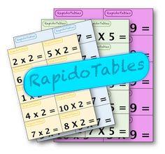 Je partage avec vous un jeu que mes élèves adorent. Il s'agit du jeu RapidoTables. Je l'ai réalisé en me basant sur le célèbre jeu des Cartatoto. Les cartes représentent les tables de multiplication de 2 à 10. Chaque table se distingue par une couleur qui lui est propre. On commence à s'entraîner à RapidoTables …