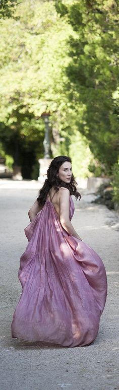 Game of Thrones style: Shae wearing an elegant purple gown
