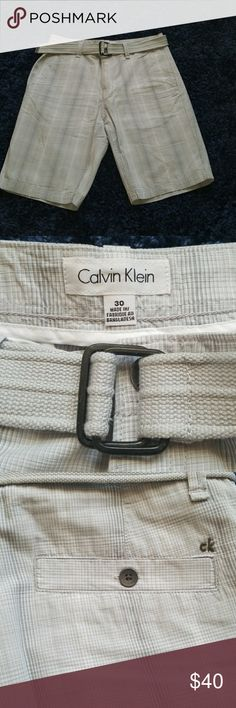 """NWOT CK 30w mens grey striped belted shorts new never worn very nice light grey striped Calvin Klein shorts with light grey belt. 30w 11""""inseam . Great vacation casual/dress short, Perfect for going from walking around during the day to dinner at night. Calvin Klein Shorts"""