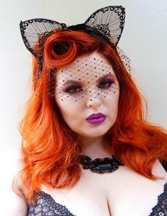 Cat Ears, Lace Ears, Bat Ears, Halloween Costume, Headband, hair accessory, Batcakes Couture.  via Etsy.