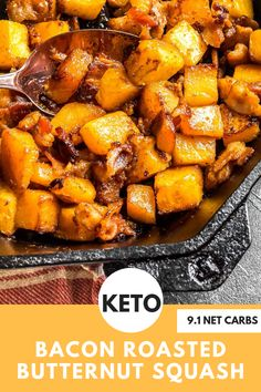 Keto Bacon Roasted Butternut Squash - As the bacon renders the squash soaks up all of the delicious bacon grease and the outsides of the squash get a bit crispy as well. This is definitely one of our favorite keto side dishes for fall! Low Carb Side Dishes, Side Dish Recipes, Low Carb Recipes, Diet Recipes, Cooking Recipes, Healthy Recipes, Diabetic Recipes, Healthy Side Dishes, Bacon Recipes