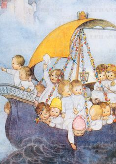 Babies Boats Editor: Blue Lantern Publishing Illustrator: Mabel Lucy Attwell Imprint: Laughing Elephant New Child' Drawing For Kids, Art For Kids, Children's Book Illustration, Book Illustrations, Illustration Children, Vintage Cards, Vintage Signs, Eeyore, Vintage Children