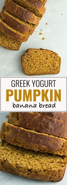 Healthy pumpkin banana bread recipe made with greek yogurt. A delicious pumpkin dessert or breakfast made without any oil or butter and naturally sweetened. #pumpkin #bananabread #healthy #fallrecipes