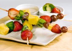 These pretty kabobs are a great snack for kids and adults. Fruit and cheese are tasty combination of carbohydrates and protein, and will leave you feeling satisfied.