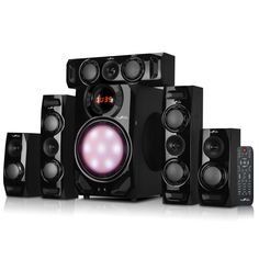 beFree Sound 5.1 Channel Surround Sound Bluetooth Speaker System in Black - Reconditioned