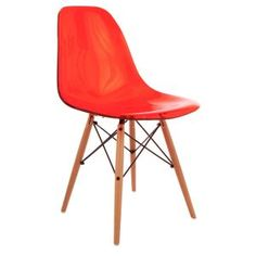 Desire Ghost Inspired Chair in Red with Wooden Legs