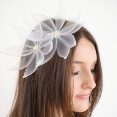 Airy Flower Hair Pin ready for a beautiful bride by TaraMDesigns Tara M, Flowers In Hair, Flower Hair, Beautiful Bride, Fascinator, Hair Pins, Etsy Store, Bridal, Trending Outfits