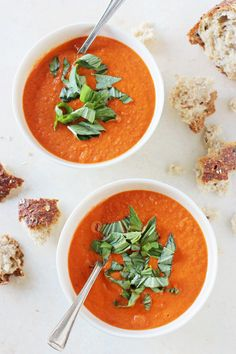 A creamy, healthy and homemade roasted cherry tomato soup! Serve topped with…