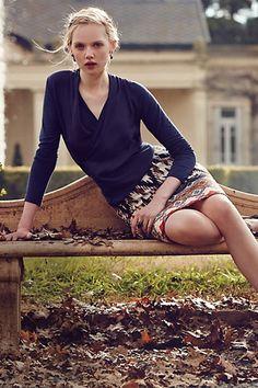 Crossroads shirt / Iguazu Pencil Skirt - anthropologie.com
