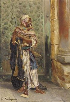 George Rochegrosse - The arab guard, oil on panel