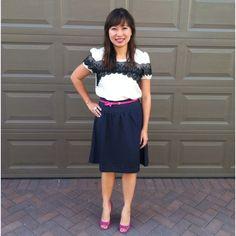 Polka dots & lace. Top - Loft, skirt - The Limited, belt - Ann Taylor & shoes - BCBG girls