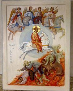 Last Judgement by Anton & Ekaterina Daineko Byzantine Art, Byzantine Icons, Religious Icons, Religious Art, Church Icon, Apocalypse Art, Religious Paintings, Mary And Jesus, I Icon