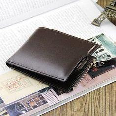 Men's Wallets Cowhide Money Metal Zipper Short Removable Card Holder