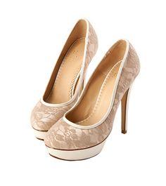 Grace giftGrace gift 官方購物網站 - MIT細緻浪漫蕾絲防水台高跟鞋