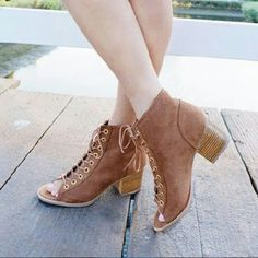 Summer vibes lace up taupe booties Brand new Never been worn  Comes in original box No trades Many more sizes available Shoes Ankle Boots & Booties
