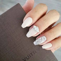 100 Delicate wedding nail ideas. Like these fancy Silver and gem wedding nails.