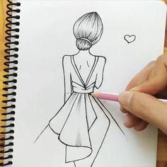 easy girl drawing pencil sketch video Easy Doodles Drawings, Easy Disney Drawings, Art Drawings Sketches Simple, Girl Drawing Sketches, Girly Drawings, Unique Drawings, Art Drawings For Kids, Pencil Art Drawings, Drawing Tips