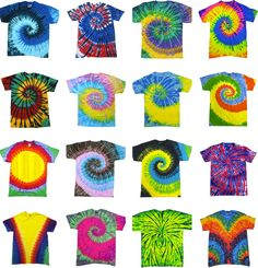 Tie Dye T Shirts New Multi Colors Spiral Variation Size Youth XS to Adult 3XL #HanesGildan #BasicTee